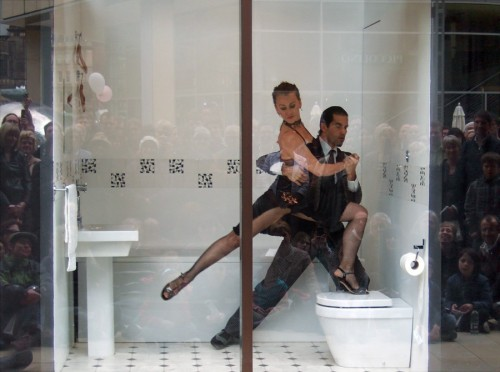 Tango quite literally on a toilet