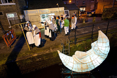 Preparing to rake the moon along the canal