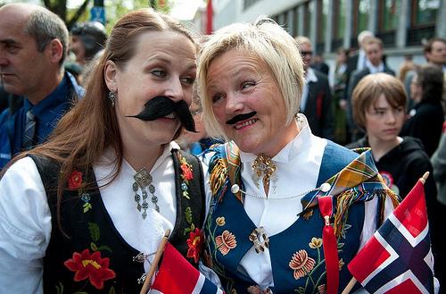 The Norwegian ladies love a moustache