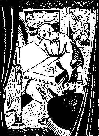 Des Esseintes at Study - Zaidenberg Illustration