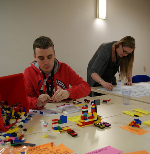 Prototyping new services with Lego and PostIt notes. There are always PostIt notes