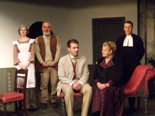 The cast of 'Ghosts': Regina (Helen Duce), Engstrand (David Pritchard), Oswald (Chris Andrews), Mrs Alving (Dianne Newby), Pastor Manders (Rob Colbeck)