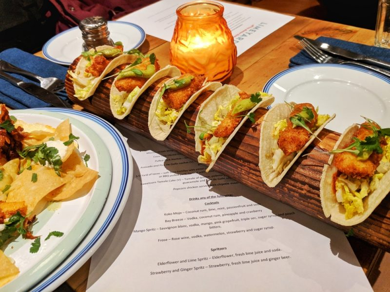 Cod is one of the fillings available on Limeyard's half yard taco menu