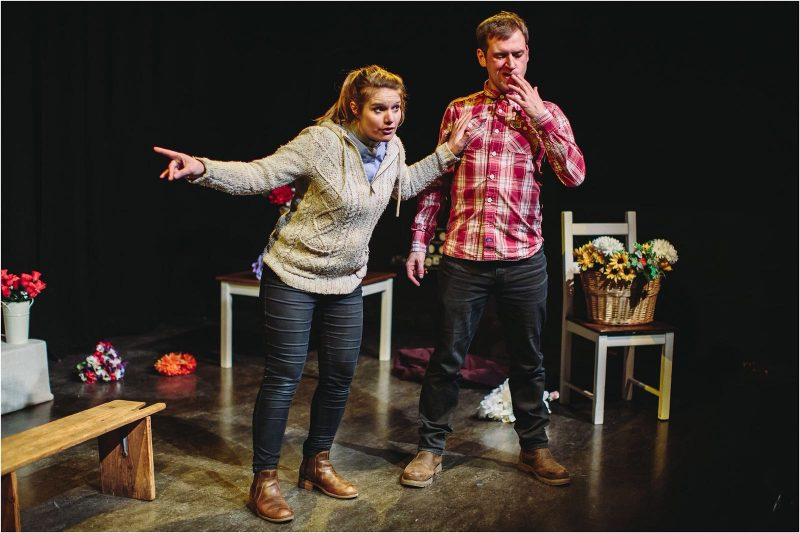 Lynsey Jones and Richard Galloway saying it with flowers in If I Say Jump .. Photo: Barnaby Aldrick