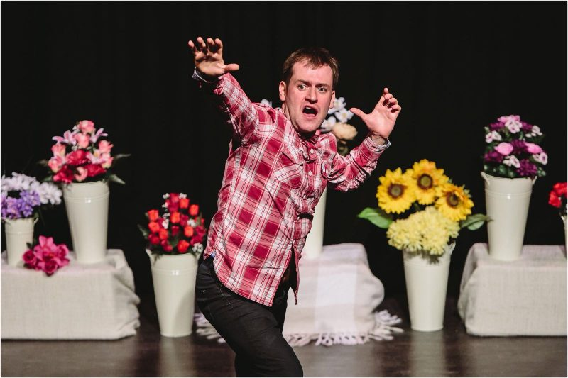 Against a backdrop of flowers, Richard Galloway's Danny is losing his cool in If I Say Jump .. Picture: Barnaby Aldrick
