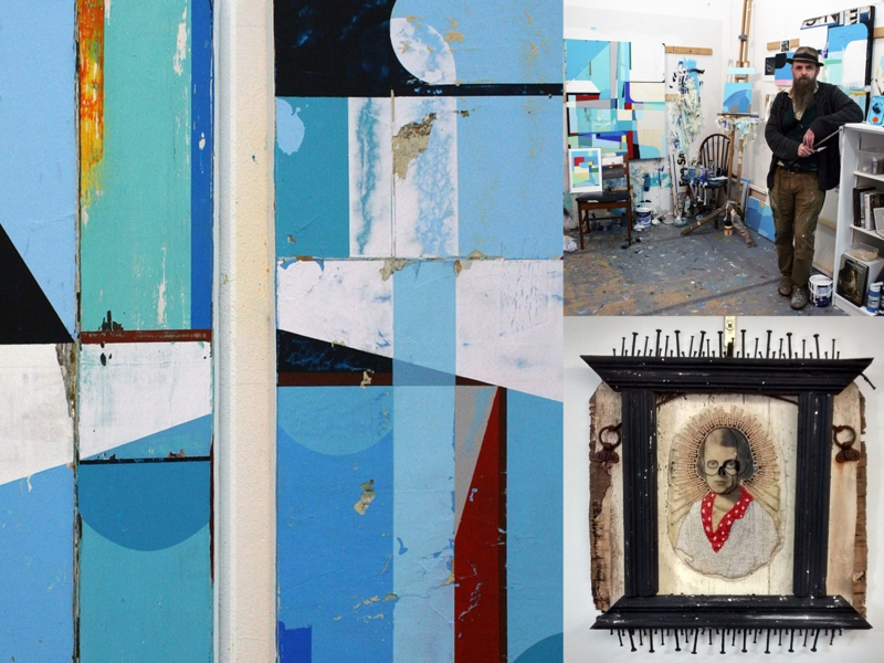 Clockwise from left: Nothing is Ever the Past (detail); artist Stephen Heaton in his studio; Jax Temple-Smee (as Rejectamental) GirlWoman [Photos: the artists]