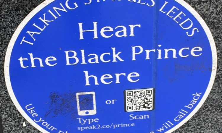 Talking statue plaque, The Black Prince, Leeds City Square.