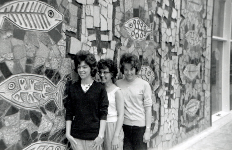 Ann Day, Sandra Hare and Carole Murray photographed in front of Boyson's Fish mural (Photo: Ann Day)