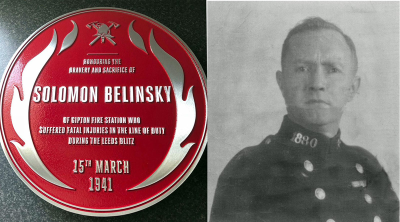 Solomon Belinsky and the Red Plaque which will be unveiled this Saturday.