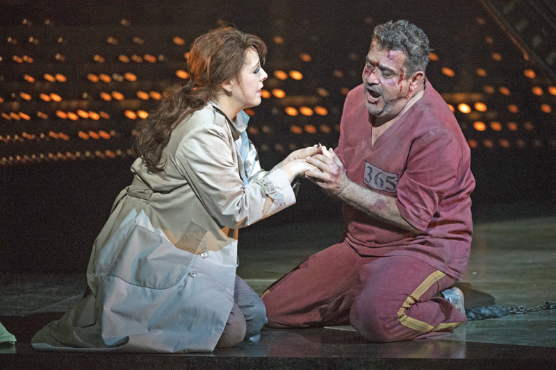 Giselle Allen as Tosca and Rafael Rojas as Cavaradossi in Opera North's production of Puccini's Tosca (Photo credit: Richard H Smith)