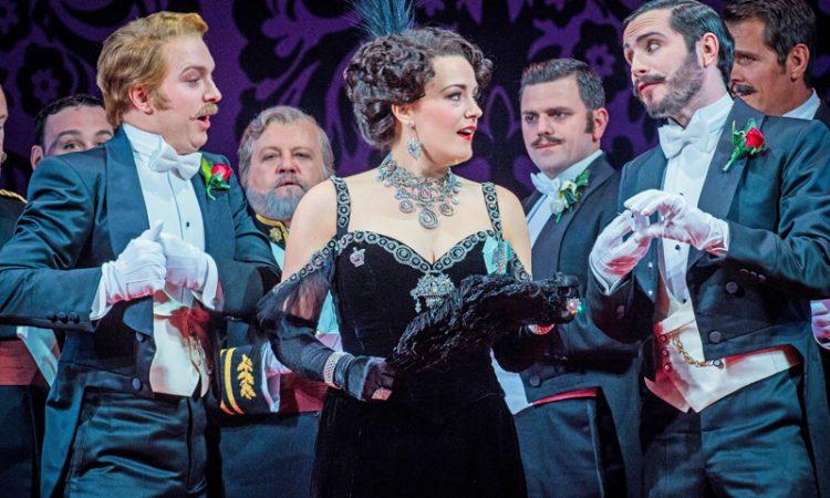Alex Otterburn as Cascada, Máire Flavin as Hanna Glawari and Alex Banfield as St Brioche in Opera North's The Merry Widow [Photo credit: Robert Workman]