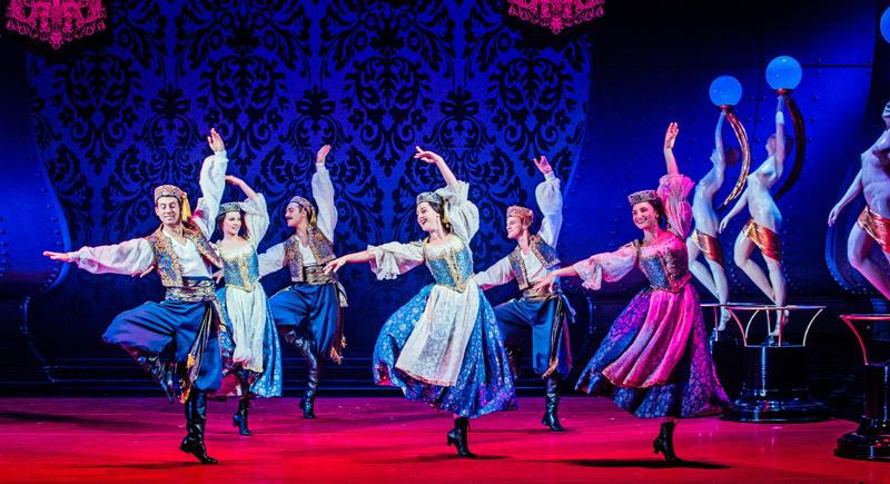 Dancers Richard Bermange, Joshua Donald, Diana Girbau, Chloe Murray, Rebecca Scanlon and Marco Venturini in Opera North's The Merry Widow [Photo credit: Robert Workman]