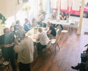 Bread + Roses Cafe space on North Parade in Bradford regularly inspires discussion and the sharing of ideas.