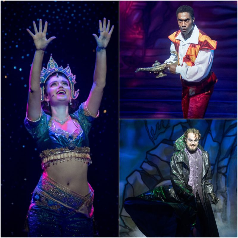 Clockwise from left Emily Beth Harrington as Scheherazade, Simon Webbe as Aladdin and David O'Mahony as Abanazar