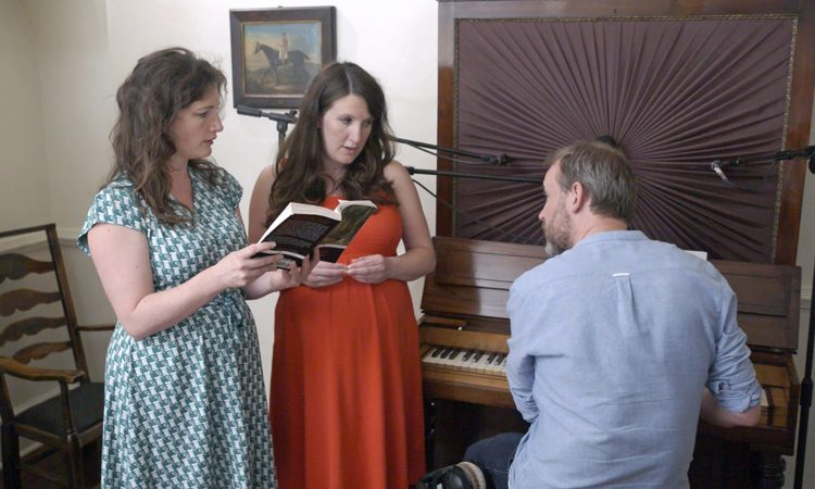 The Unthanks Sing Emily Bronte. From left:, Becky and Rachel with Adrian. Courtesy of The Unthanks.