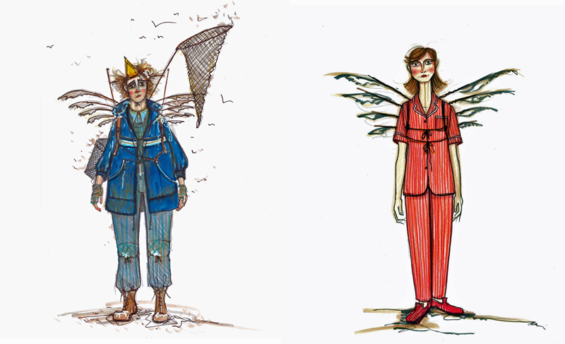 Costume designs for The Magic Flute - Papageno (left) and Child (Courtesy of Colin Richmond)