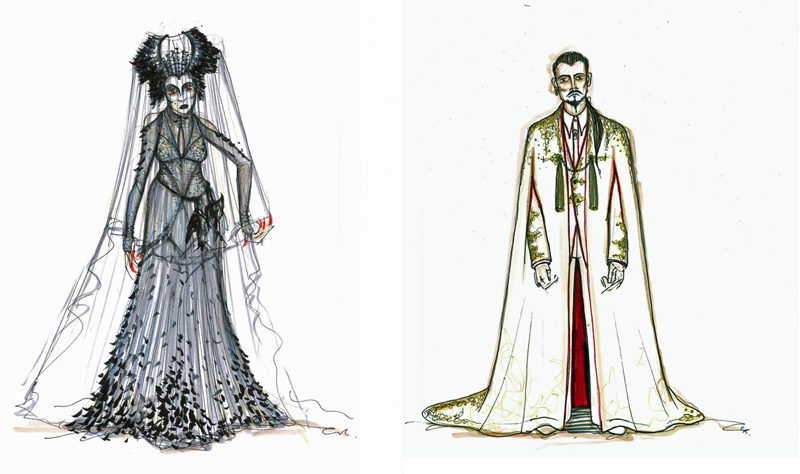 ostume designs for The Magic Flute - Queen of the Night (left) and Sarastro (Courtesy of Colin Richmond)