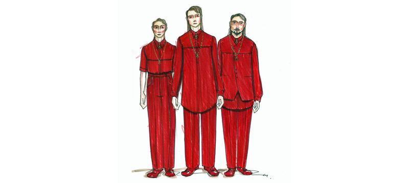 Costume design for The Magic Flute - Sarastro's Men (Courtesy of Colin Richmond)