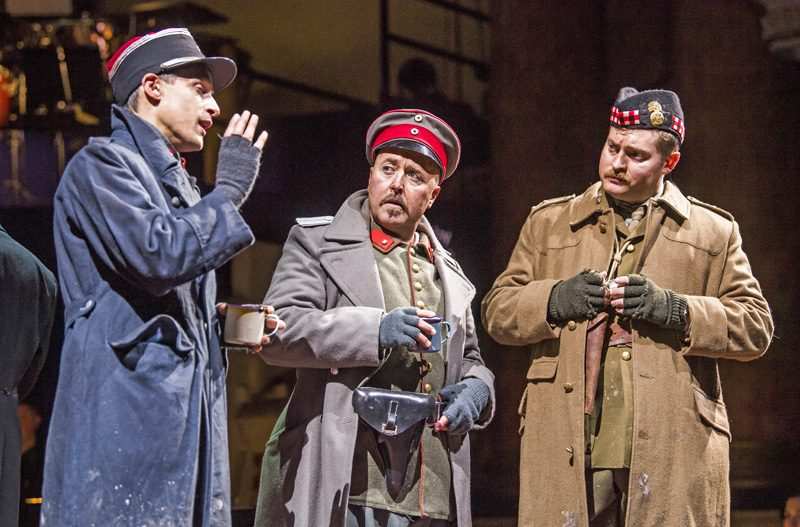 Quirijn de Lang as Lieutenant Audebert, Richard Burkhard as Lieutenant Horstmayer and Timothy Nelson as Lieutenant Gordon in Opera North's production of Silent Night by Kevin Puts [Photo credit: Tristram Kenton]