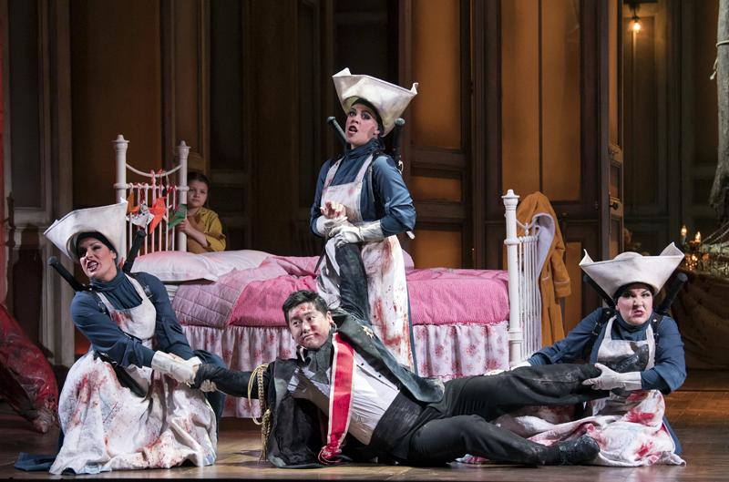 Helen Évora, Kang Wang, Lorna James and Amy J Payne in Opera North's The Magic Flute. Photo: Alastair Muir.