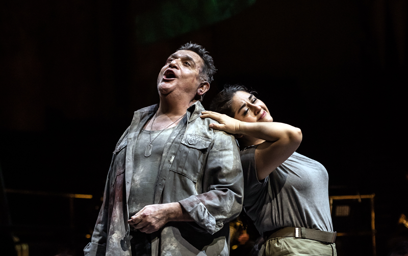 Rafael Rojas as Radamès with Alexandra Zabala as Aida in Opera North's Aida [Photo credit: Clive Barda]