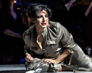 Opera North's concert staging of Verdi's Aida, Spring 2019 Alessandra Volpe as Amneris Conductor Sir Richard Armstrong, Director Annabel Arden, Designs and Video Direction Joanna Parker, Video Design Dick Straker, Lighting Designer Richard Moore Photo credit: Clive Barda