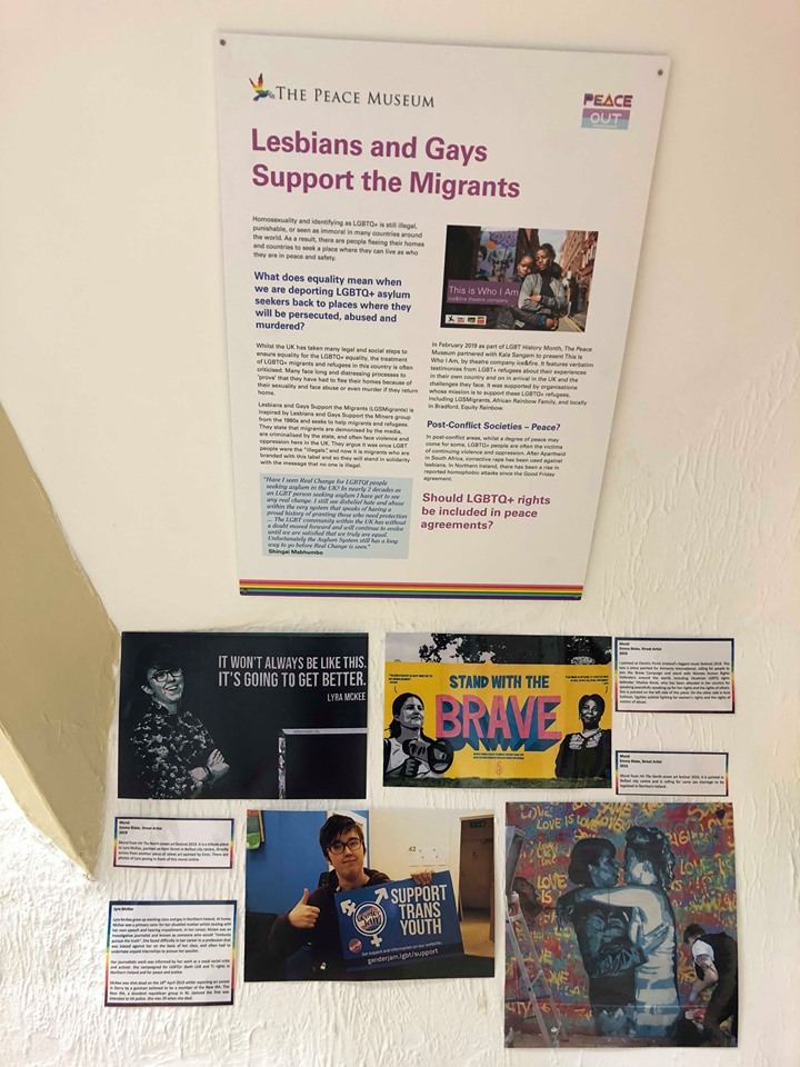 Section of the exhibition dedicated to LGBTQ+ support of migrants and refugees