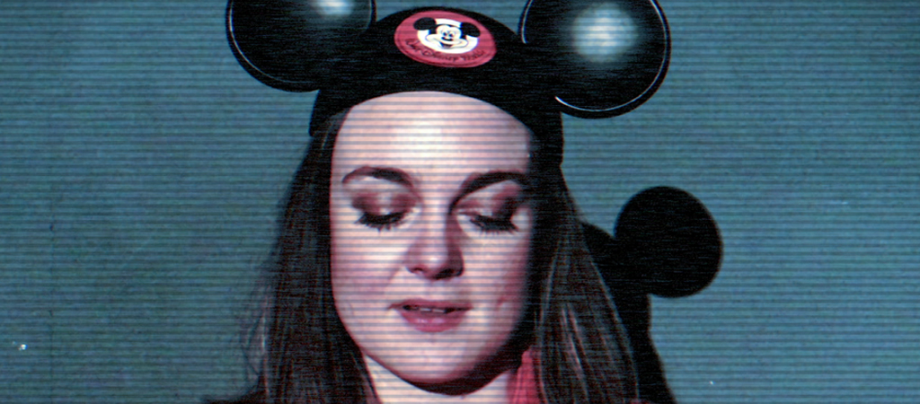Lydia Cottrell in a Mickey Mouse hat